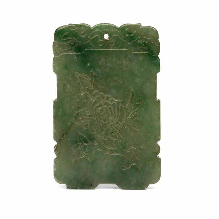 Artisan Carved Jade Plaque, circa 1800s For Sale