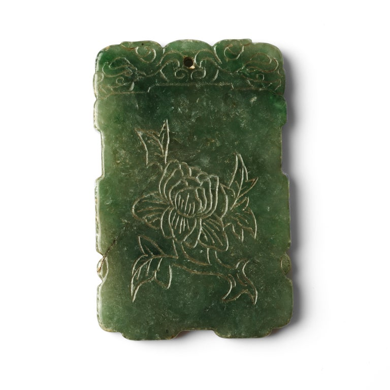 Uncut Carved Jade Plaque, circa 1800s For Sale