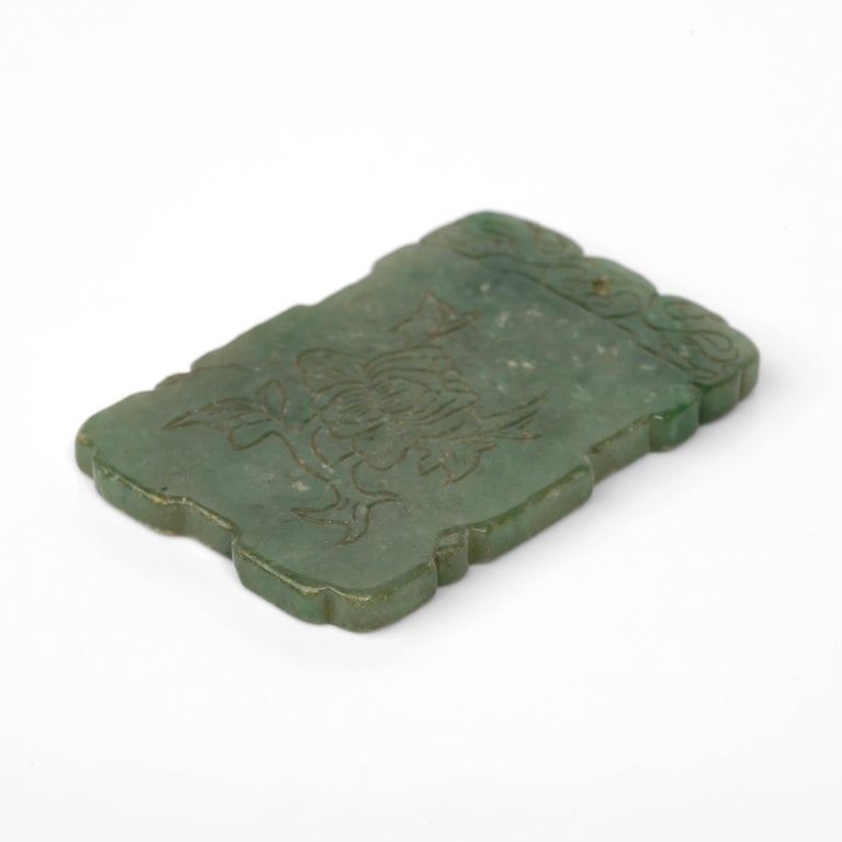 Carved Jade Plaque, circa 1800s For Sale 1