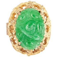 Carved Jade Ring Vintage 14 Karat Yellow Gold Large Oval Cocktail Jewelry