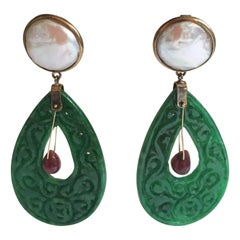 Carved Jade Ruby Drop Mabè Pearls 18 Karat Solid Gold Earrings