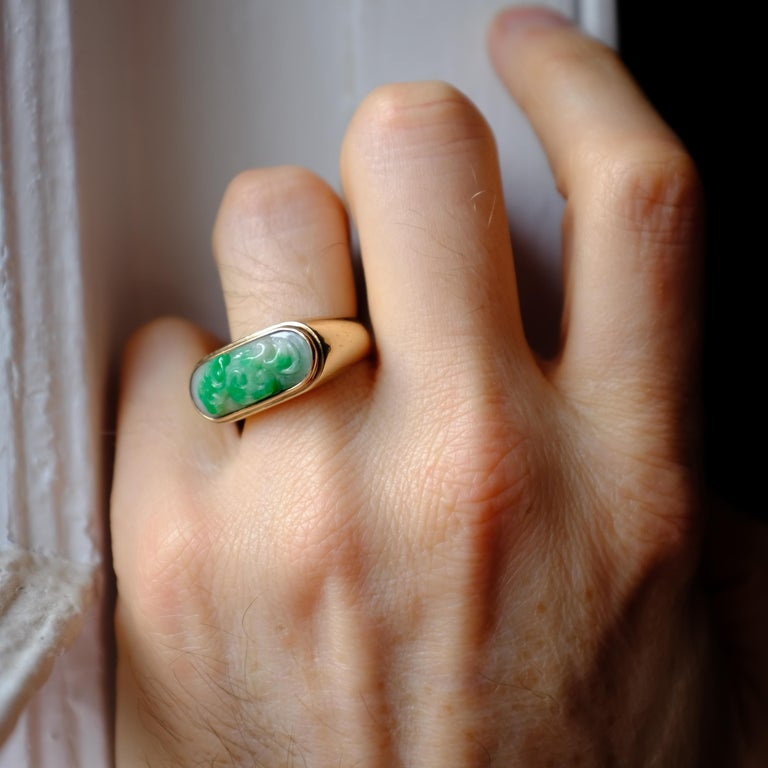 Carved Jade Saddle Ring Certified Untreated For Sale 5