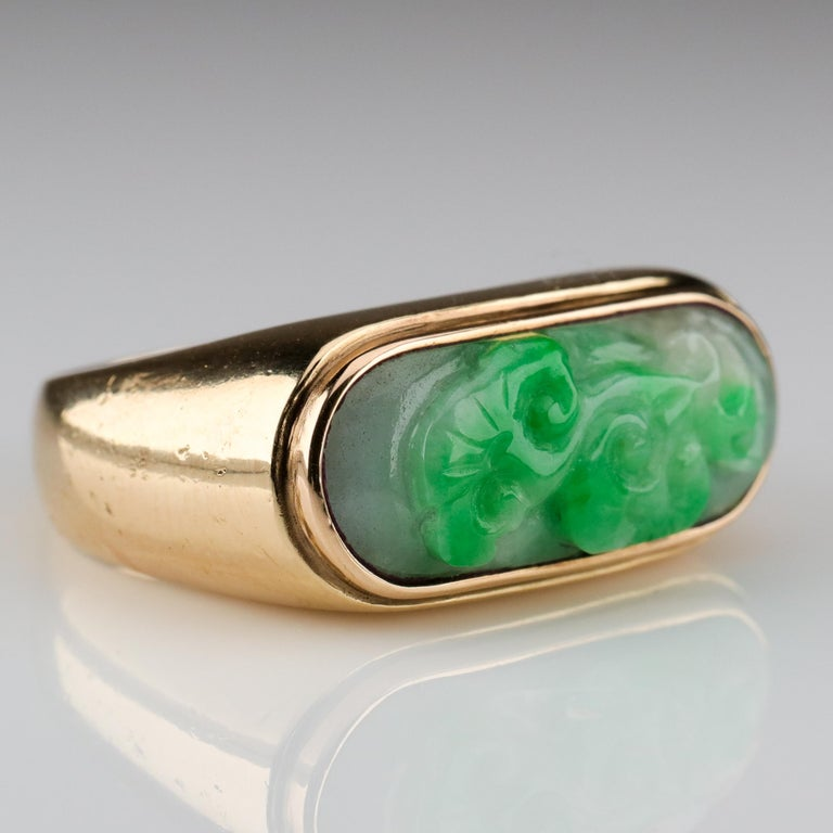 Women's or Men's Carved Jade Saddle Ring Certified Untreated For Sale