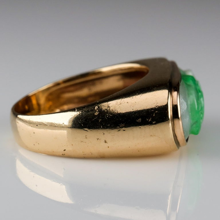 Carved Jade Saddle Ring Certified Untreated For Sale 1