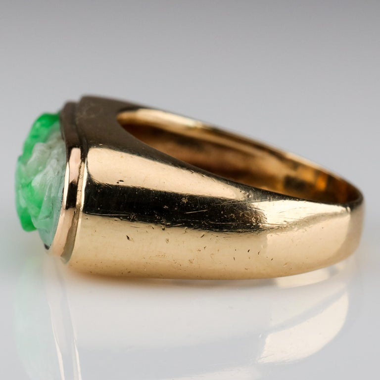 Carved Jade Saddle Ring Certified Untreated For Sale 2
