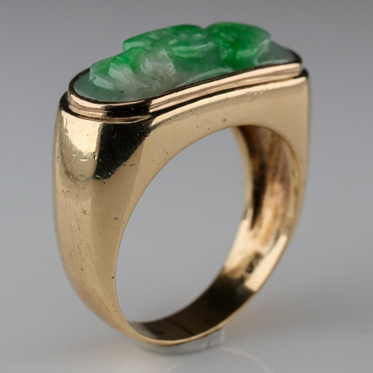 Carved Jade Saddle Ring Certified Untreated For Sale 3