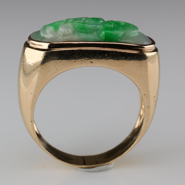 Carved Jade Saddle Ring Certified Untreated For Sale 4