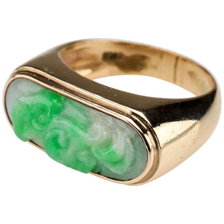 Carved Jade Saddle Ring Certified Untreated For Sale