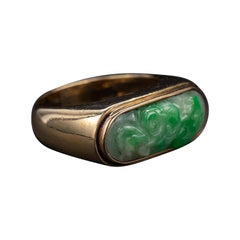 Carved Jade Saddle Ring Certified Untreated