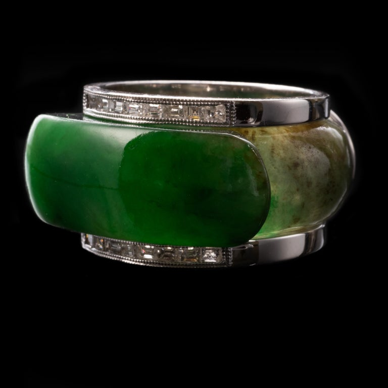 Contemporary Carved Jade Saddle Ring with Gold & Diamond Frame For Sale