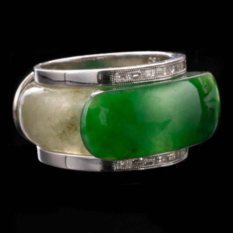 Round Cut Carved Jade Saddle Ring with Gold & Diamond Frame For Sale