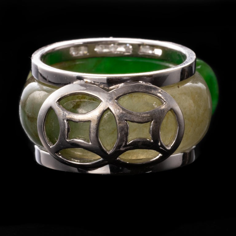 Women's or Men's Carved Jade Saddle Ring with Gold & Diamond Frame For Sale