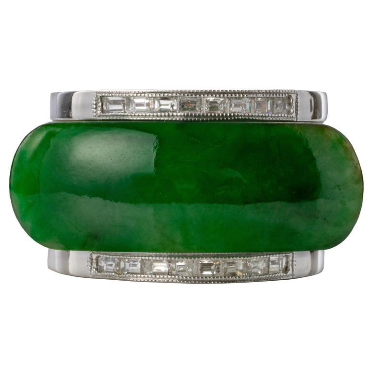 Carved Jade Saddle Ring with Gold & Diamond Frame For Sale