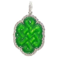 Carved Jade with Diamond Love Knot Pendant Set in 18K White Gold Settings