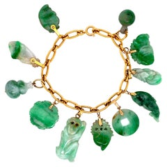 Carved Jadeite Jade Gold Link Charm Bracelet Estate Fine Jewelry