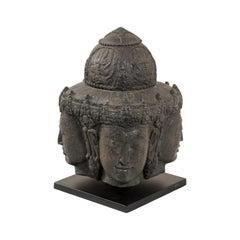 Carved Javan Hindu Basalt Style from 12th Century