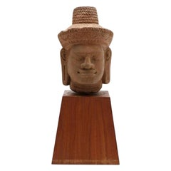 Carved Khmer Stone Head of a Male Deity, Cambodia