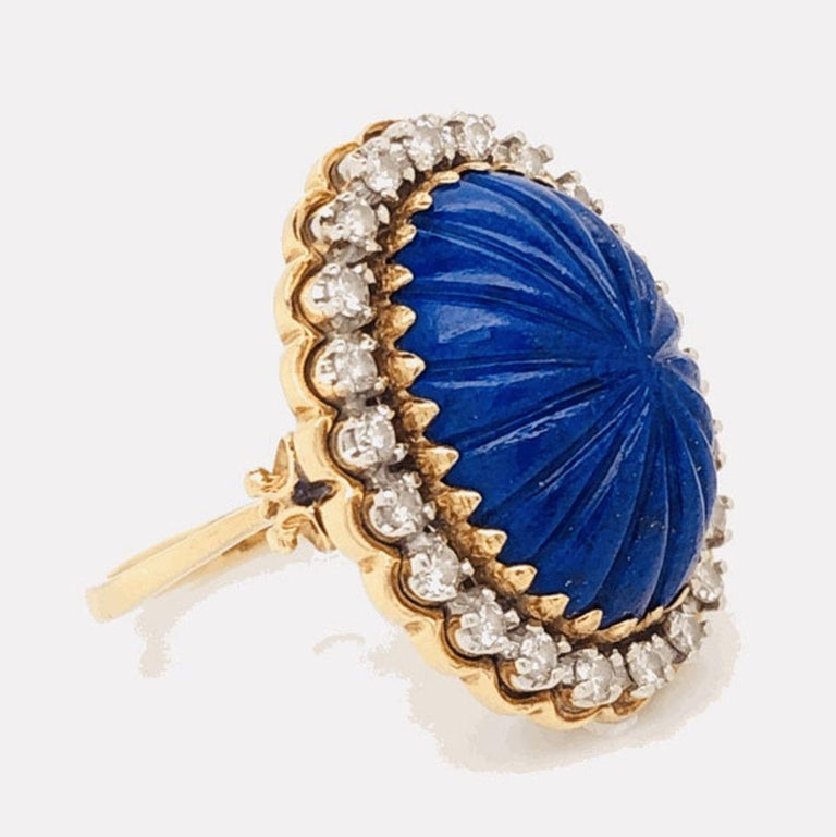 Women's Carved Lapis Lazuli and Diamond Cocktail 18 Karat Gold Ring Estate Fine Jewelry For Sale
