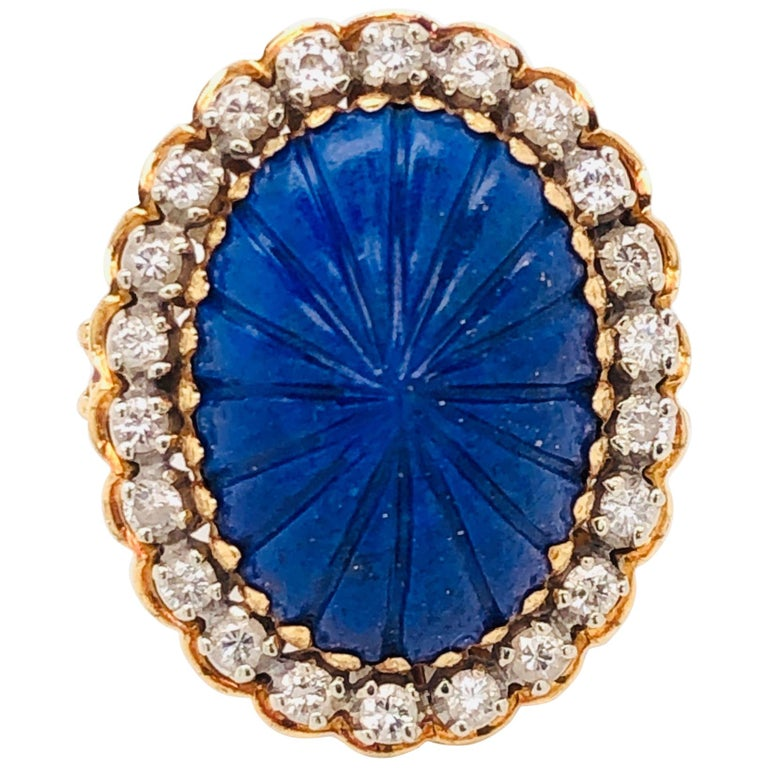 Carved Lapis Lazuli and Diamond Cocktail 18 Karat Gold Ring Estate Fine Jewelry For Sale