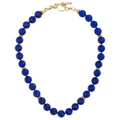 Carved Lapis Lazuli Beads Designer 14 Karat Yellow Gold Toggle Necklace