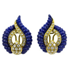 Carved Lapis Lazuli Diamond 18 Karat Yellow Gold Estate Earrings