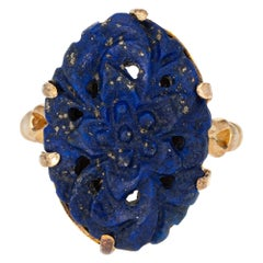 Carved Lapis Lazuli Flower Ring Vintage 14 Karat Gold Oval Cocktail Jewelry