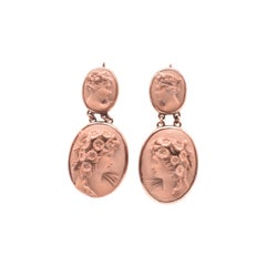 Carved Lava Cameo Earrings of Flora