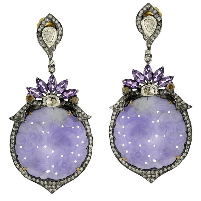 Carved Lavender Jade Earring With Amethyst And Diamonds For