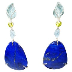 Carved Leafs Aquamarines Peridot in 18k Gold Earrings with Lapis Lazuli Drops