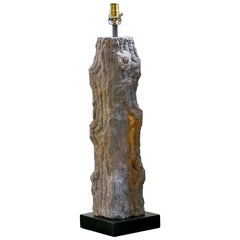 Carved Limestone Faux Bois Table Lamp