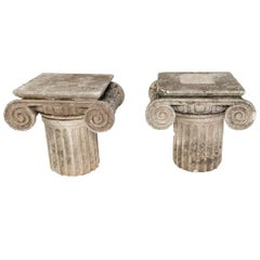 Carved Limestone Ionic Side Tables
