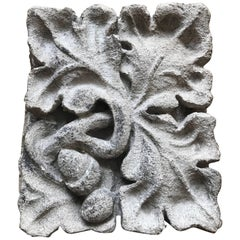 Carved Limestone Oak Leaves and Acorns Architectural Element