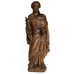 Carved Limewood Figure of St Catherine of Alexandria, 17th Century