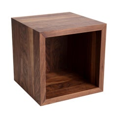 Carved Lines Wooden Cube, Walnut