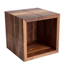 Carved Lines Wooden Cube, Walnut Quad Plaid