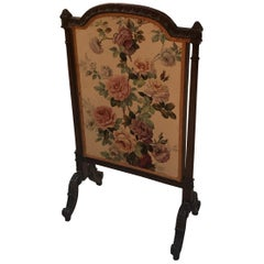 Carved Mahogany and Floral Linen Fire Screen