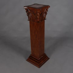 Carved Mahogany and Marble Corinthian Column Sculpture Display Pedestal