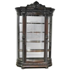 Carved Mahogany Bowed Glass Victorian China Cabinet Vitrine, circa 1890s