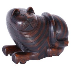 Carved Mahogany Cat with Secret Compartment