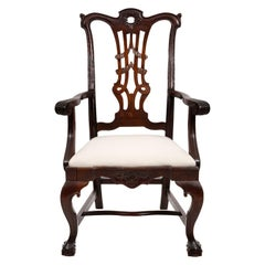 Carved Mahogany Chippendale Style Armchair