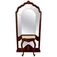 Carved Mahogany Floor Mirror with Marble-Top Console Table