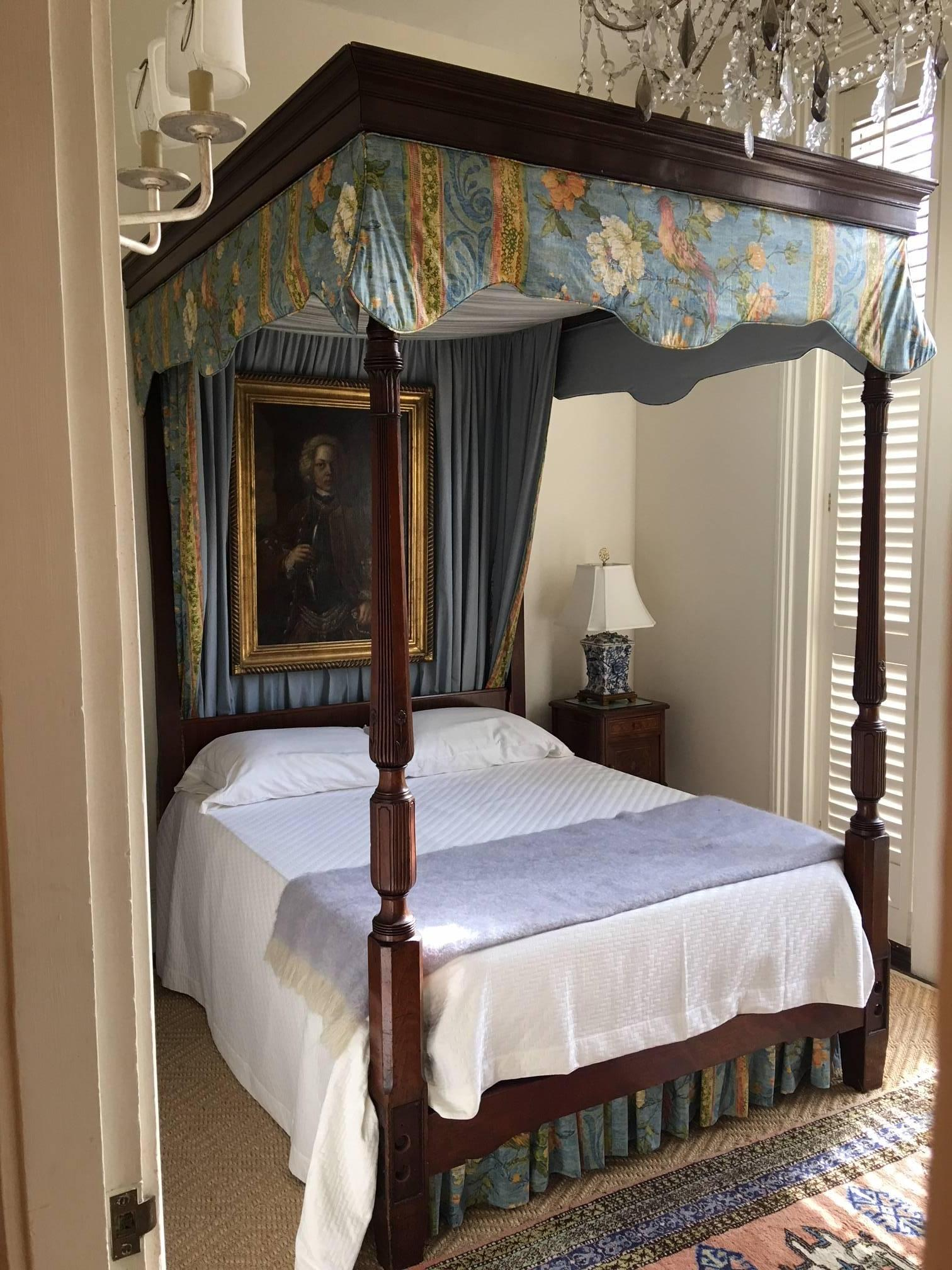 Carved Mahogany Four Poster Bed With Canopy, 19th Century