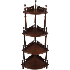 Carved Mahogany Four-Tier Corner Shelf Whatnot Étagère