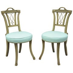 Carved Mahogany French Regency Style Chairs with Brass Handle & Aqua Vinyl, Pair