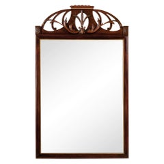 Carved Mahogany Parcel Gilt Wheat Sheaf Coronet Crest Mirror