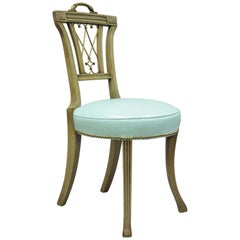 Carved Mahogany Regency Style Chair with Brass Handle and Aqua Blue Vinyl 'B'