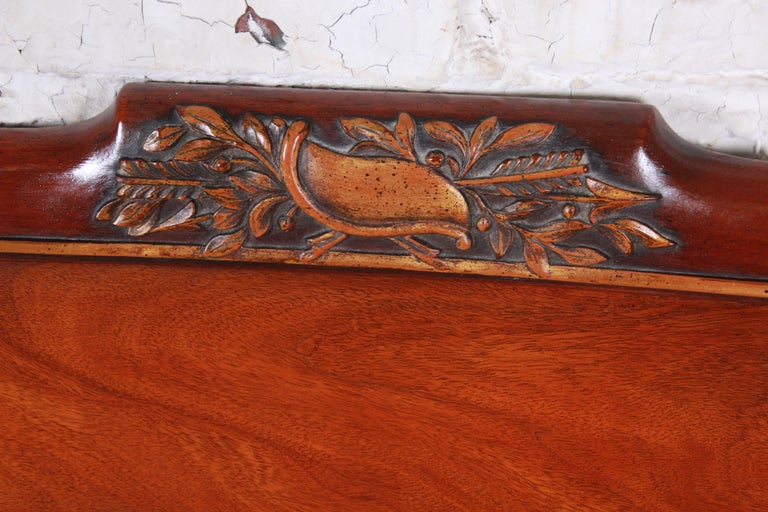 British Colonial Carved Mahogany Twin Headboards by Irwin, circa 1940s For Sale