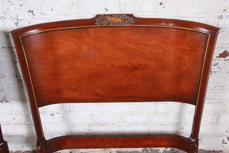 American Carved Mahogany Twin Headboards by Irwin, circa 1940s For Sale