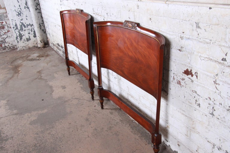 Mid-20th Century Carved Mahogany Twin Headboards by Irwin, circa 1940s For Sale
