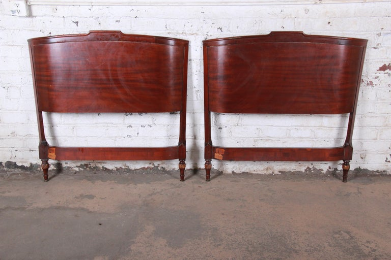 Carved Mahogany Twin Headboards by Irwin, circa 1940s For Sale 1
